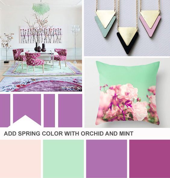 Pair orchid with mint and blush pink. (http://blog.hgtv.com/design/2014/02/25/tuesday-huesday-revisiting-radiant-orchid/?soc=Pinterest)