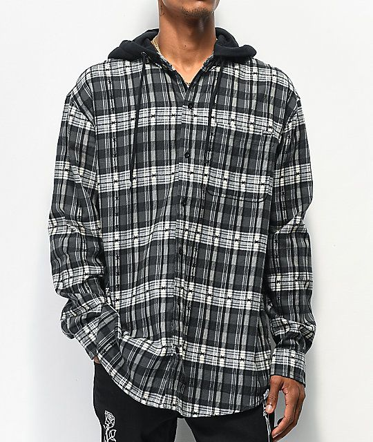 Broken Promises Risk It All Black Hooded Flannel Shirt Zumiez In 2020 Hooded Flannel Flannel Shirt Flannel Shirt Outfit