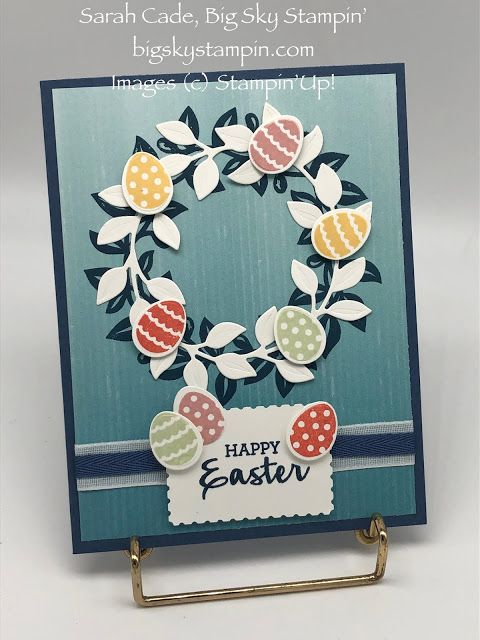 Handmade Cards Using 2021 Christmas Dsp From Stampin Up Big Sky Stampin No Matter The Season Arrange A Wreath Stampin Up Easter Cards Easter Cards Handmade Cards Handmade