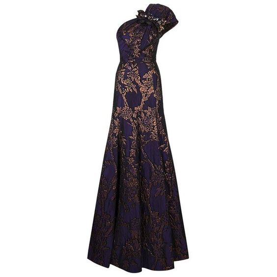 Andrew Gn One Shoulder Brocade Gown (66 140 ZAR) ❤ liked on Polyvore featuring dresses, gowns, evening dresses, floral gown, floral evening gown, evening gowns and purple gown