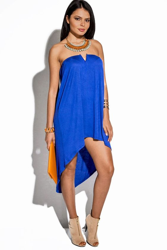 Royal Blue Strapless Summer Dress - Summer Dresses- High Low and ...
