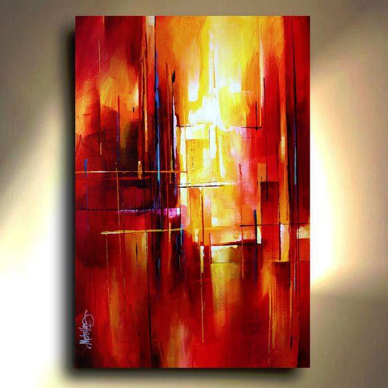 Mix lang abstract painting modern contemporary original for Peinture mural original