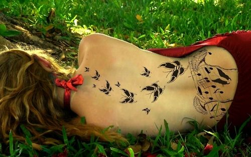 butterflies and music notes
