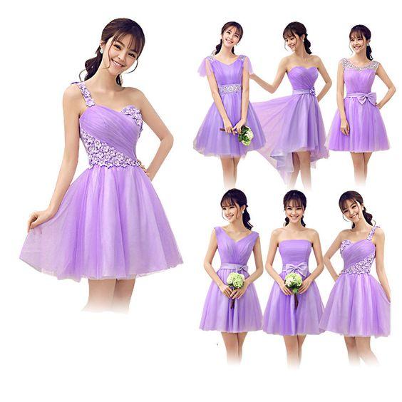 Light Purple Bridesmaid Dress With Sleeves Short Violetta Color ...