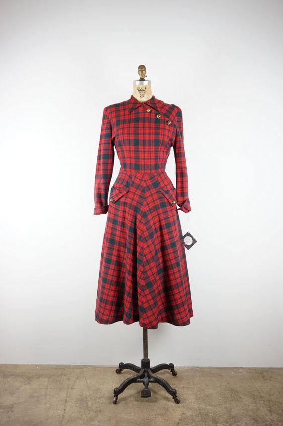 1940's Wool Dress. I love plaid!