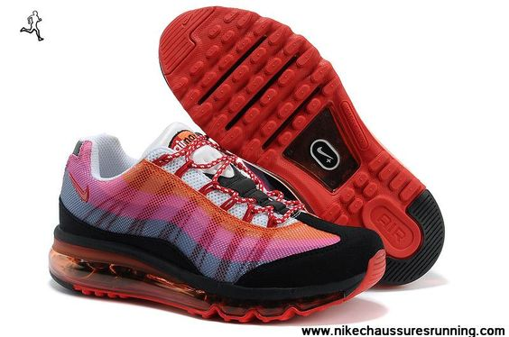 2014 Chaussures Rouge Rose Noir Hommes Nike Air Max 95 DYN FW Chaussures