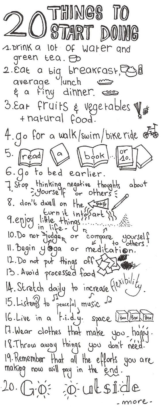 To do list for self care:
