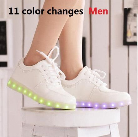 2016 Women Colorful glowing shoes with lights up led luminous shoes a new simulation sole led shoes for adults neon casual shoes