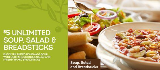 5 Unlimited Soup Salad Breadsticks At Olive Garden Restaurants Homemade Soup Olive Garden Coupons Soup And Salad