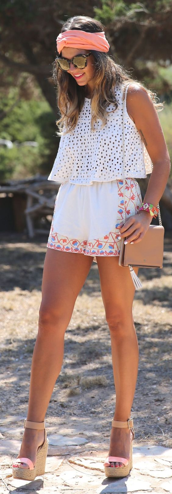 Cotton tank, embroidered shorts