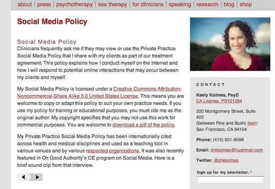 Keely Kolmesu0027 Social Media Policy Social Media articles Pinterest - social media policy