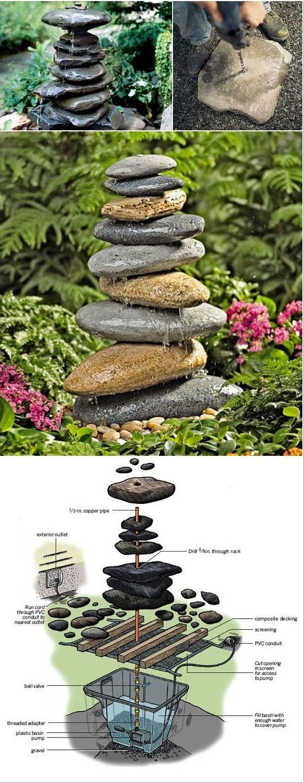 #DIY River Rocks Fountain