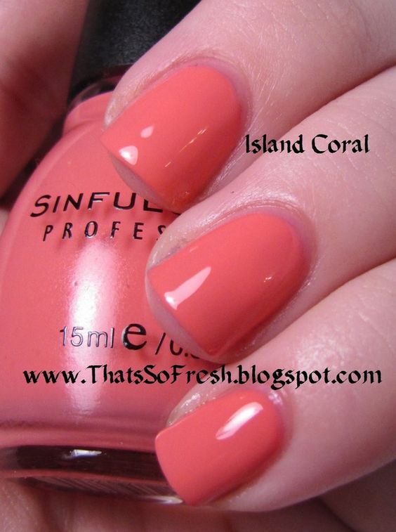 Sinful Island Coral...on my toes now!: Colors Collection, Colors Island, Hair Makeup Nails, Fake Nails, Care Nails, Coral Pretty, Sinful Colors, Coral Color