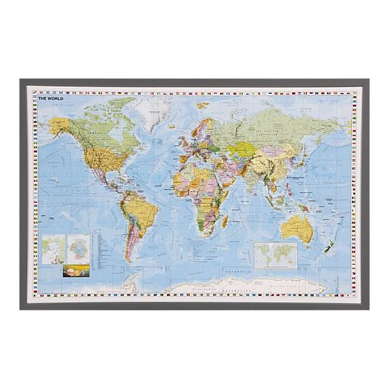 Framed Map for Den/Office Wall - Poster from Crate and Barrel $24.95