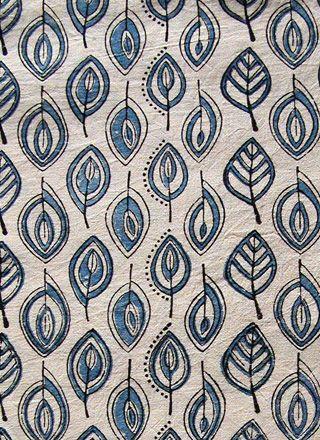 botto block printed fabric - leaf design
