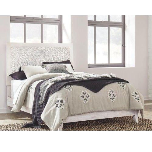 Paxberry Queen Panel Bed In Whitewash In 2021 Queen Panel Beds Panel Bed Bedroom Set