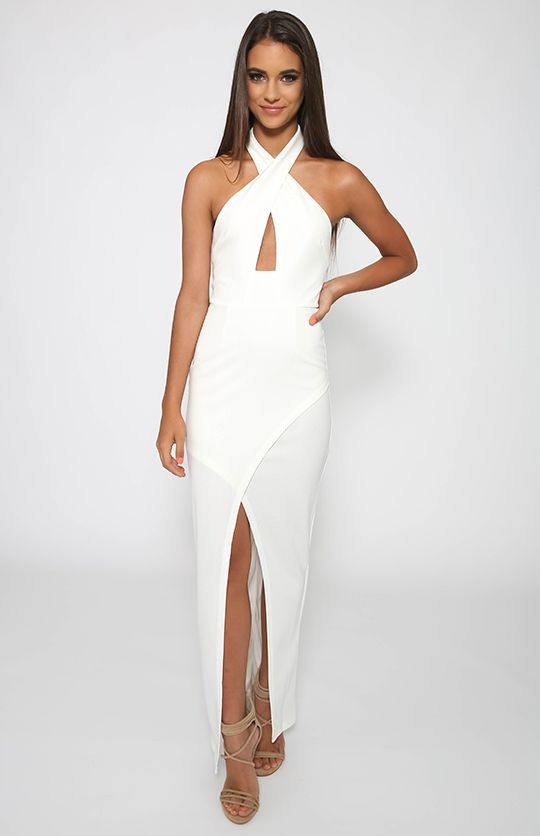 Love Indie - Doll Cross Front Formal Dress - White - Prom ...