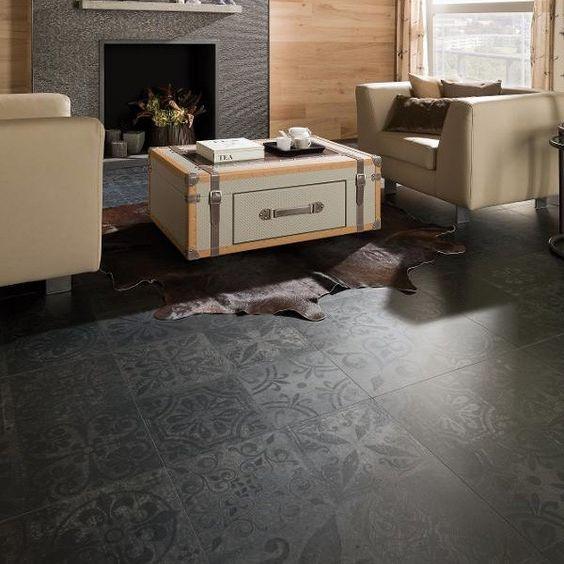 Porcelanosa Kitchen Floor Tiles: Porcelanosa Antique Black 59.6 X 59.6cm