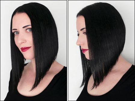Severe inverted bob haircut
