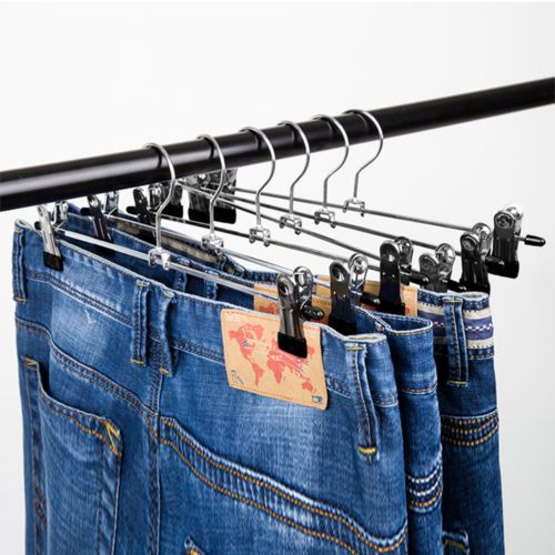 Details About 20 40 Pack Metal Clothes Hangers With Adjustable Clips For Skirt Pants Slacks Metal Clothing Skirt Pants Clothes Hanger
