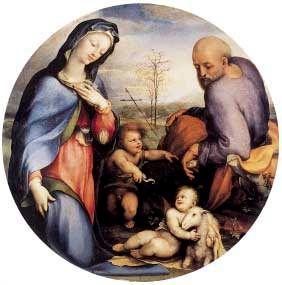 Domenico Beccafumi - Sacra Famiglia con san Giovannino e l'agnellino (Monaco) - 1510-1520  - Alte Pinakothek, Monaco