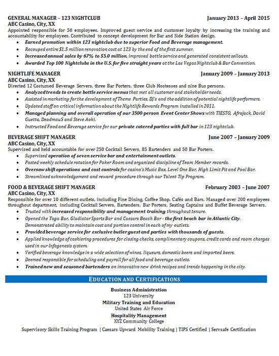 Food Beverage Manager Resume Example Manager Resume Resume Examples Job Resume Samples