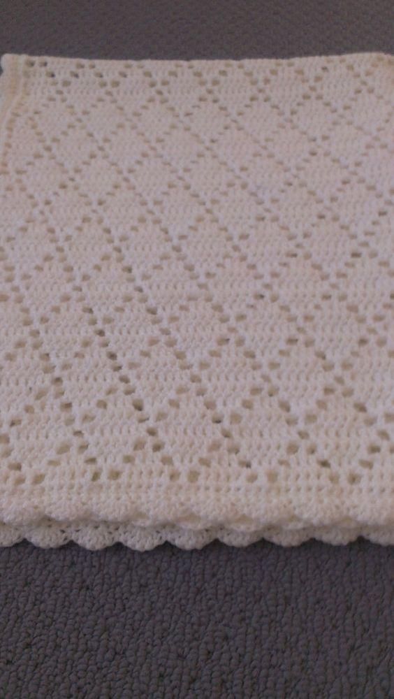 Crochet Baby Blanket Diamond Pattern : Handmade Crochet Pure White Diamond Pattern Baby Blanket ...