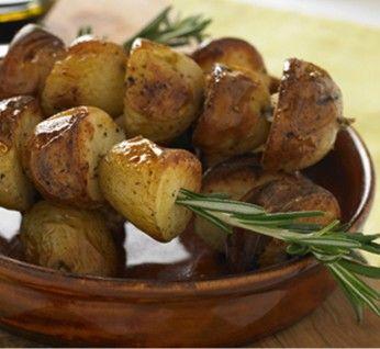 Garlic Roasted Potatoes on Rosemary Skewers