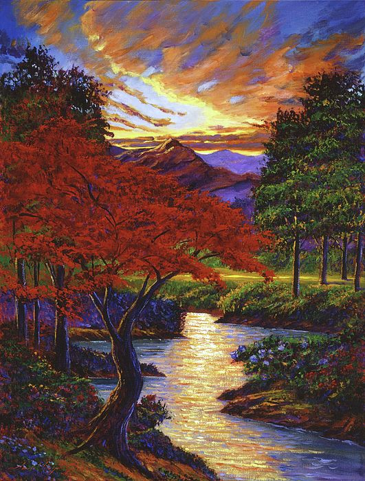 David Lloyd Glover Red Maple Beauty Original Oil On Canvas Painting Tree Painting Landscape Paintings Mountain Sunset Painting