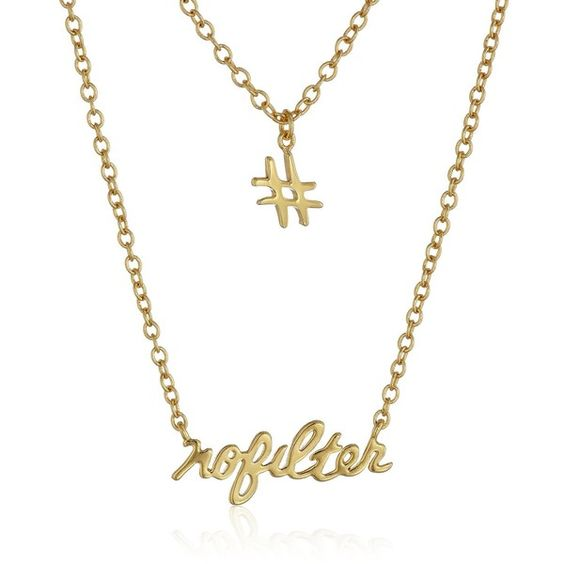 "gorjana ""Sassy"" No Filter Hashtag Chain Necklace ($85) ❤ liked on Polyvore featuring jewelry, necklaces, gorjana jewelry, chain necklace, chains jewelry, gorjana necklace and gorjana"