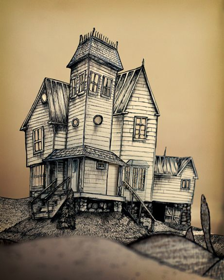 Sleeve beetlejuice and haunted houses on pinterest Haunted house drawing ideas