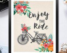 Instant Télécharger imprimable profiter The Ride vélo panier fleurs rouge 8 x 10 pouces affiche Print