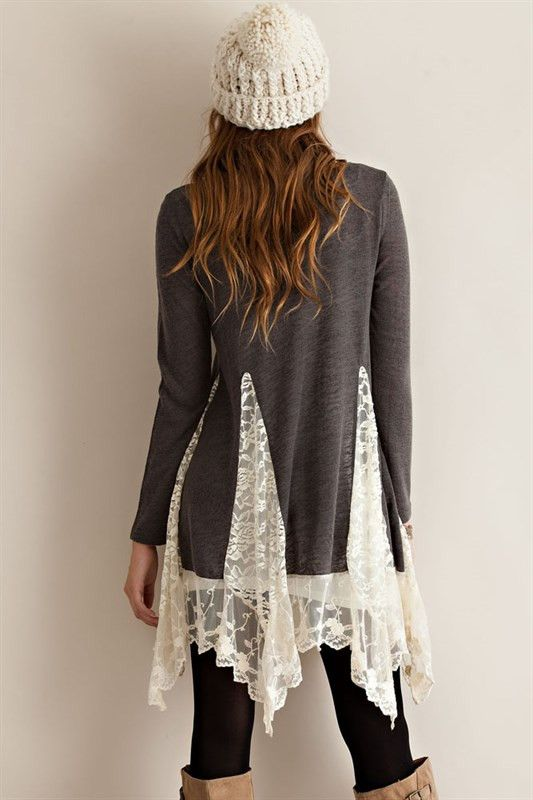 Tunic Sweater Top with Lace Detailing - another easy DIY with lace curtain and a sweater.: