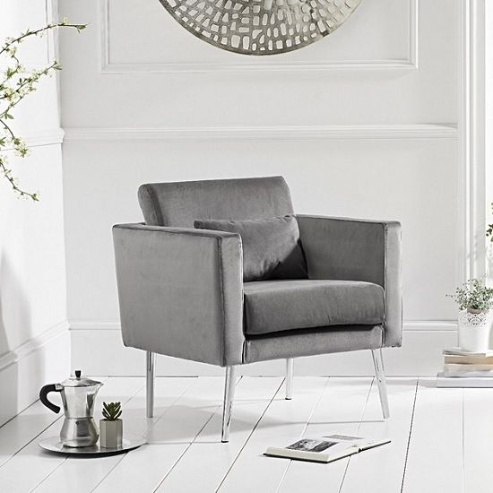 Colony Modern Accent Chair In Grey Velvet With Chrome Legs With