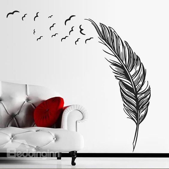 Creative Feather Pattern Bedroom TV Background Removable Wall Sticker on sale, Buy Retail Price Wall Stickers at Beddinginn.com
