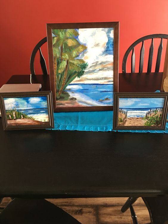 A set of beach paintings
