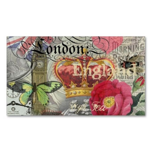 London England Vintage Travel Collage Business Card. This is a fully customizable business card and available on several paper types for your needs. You can upload your own image or use the image as is. Just click this template to get started!