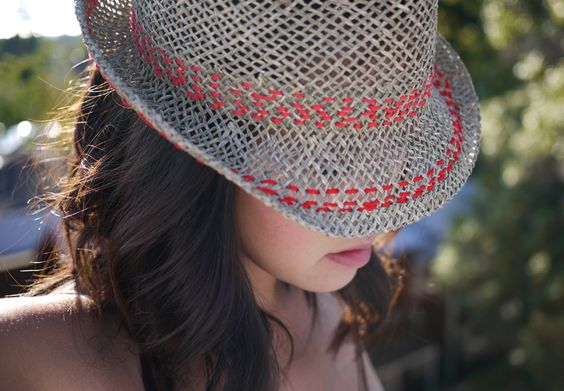 DIY Stitched Hat. I AM doing this asap (but with fluorescent yellow or fluorescent pink)