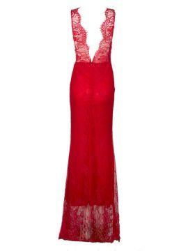 Red Eyelash Lace Bow Waist Open Back Sleeveless Prom Dress   Choies