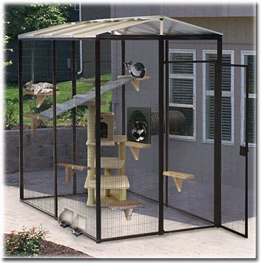 Another quotcatioquot idea to keep cats safe dog cat kennel for Dog run cage enclosure