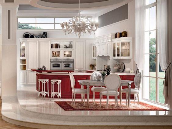 luxus küche-rot weiß-Marmorboden luxus Hochglanz ...