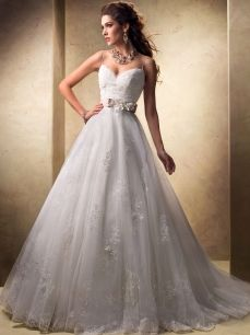 Spaghetti Straps Tulle Cinderella Wedding Dress with Lace Applique and Floral Belt Cheap