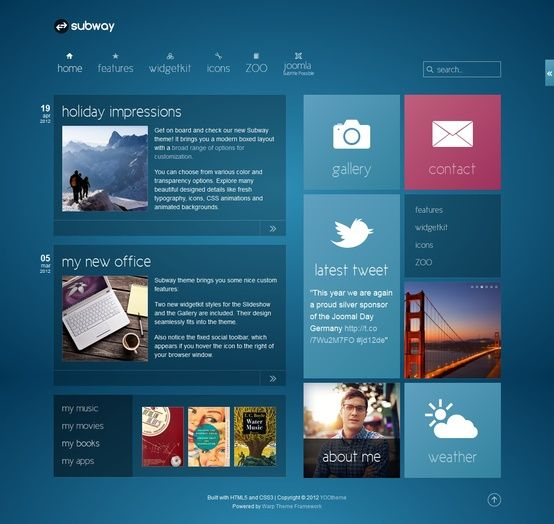 25 Clean And Modern Web Designs Flats Blue Tiles And