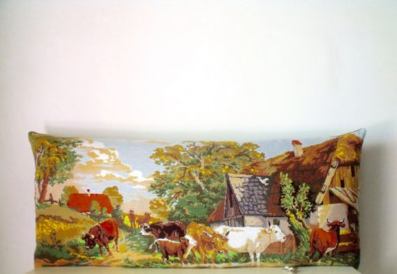 Vintage Silks Needlepoint Tapestry Voltz Cattle by Retrocollects £65 https://www.etsy.com/shop/Retrocollects
