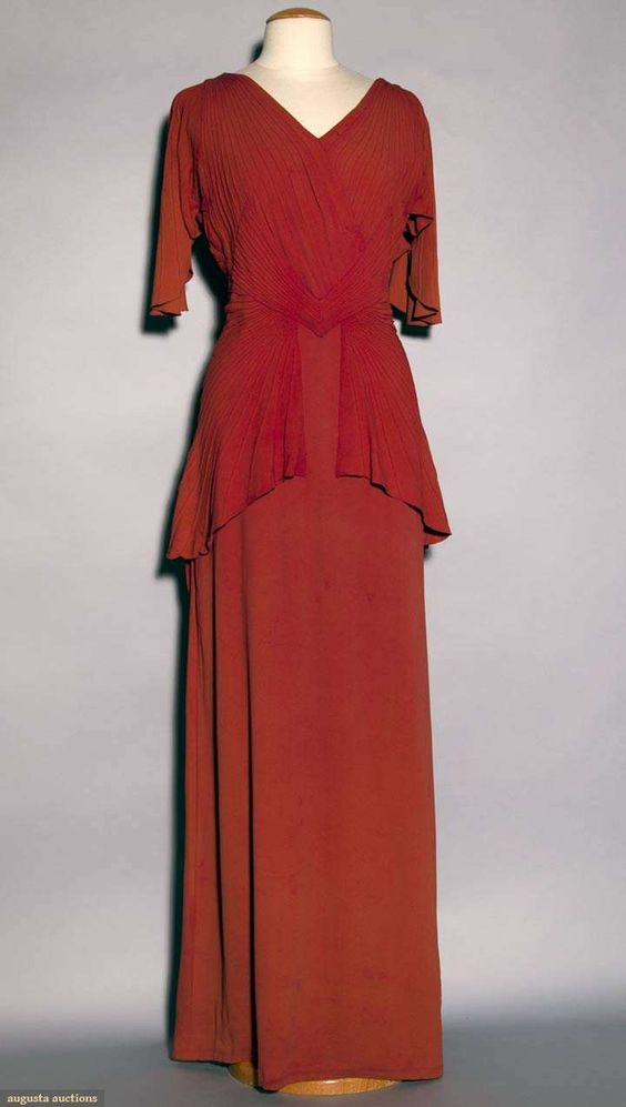 Cinnamon Silk Crepe Evening Gown, C. 1940, Augusta Auctions, November 10, 2010 - St. Pauls - NYC, Lot 364