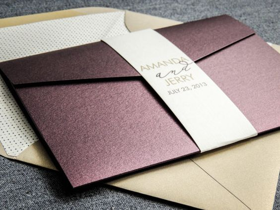 Purple Wedding Invitations, Modern Wedding Invitaions, Eggplant, Plum, & Gold, Modern Calligraphy - Pocketfold, No Layers, v1 - DEPOSIT