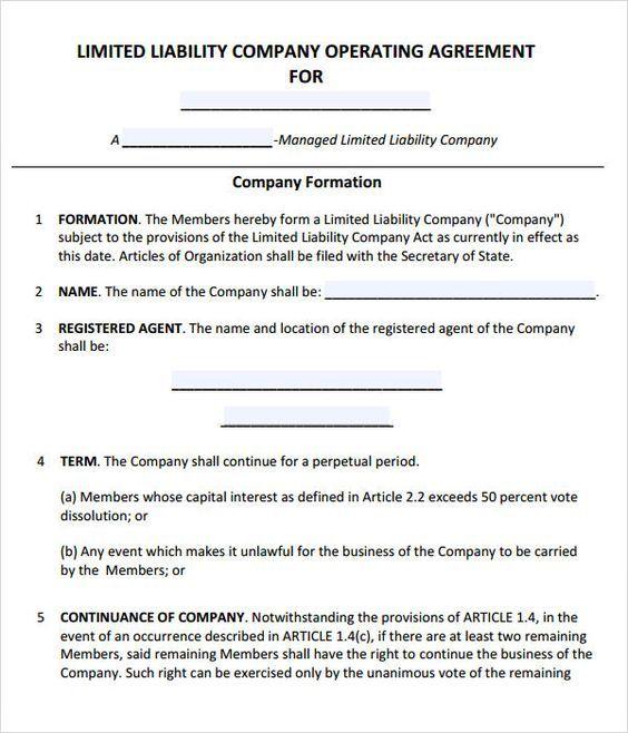 LLC Operating Agreement - Sample \ Template - llc partnership - llc operating agreement