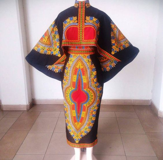 African dashiki fitted dress with high low by AFROCOLLECTION2015