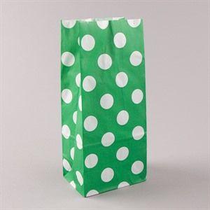 Blockbodenbeutel  Pick` n Mix weiß auf grün gepunktet