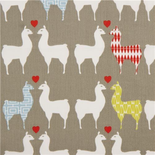 grey organic fabric with llama couples by monaluna USA
